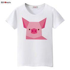 2027b2deb BGtomato lovely Digital pig t shirt women fashion pink pig cute shirt Good  quality brand comfortable
