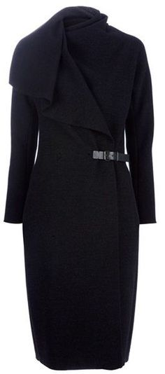 LANVIN Anthracite Wrap Coat  Stunning !!! Love it !