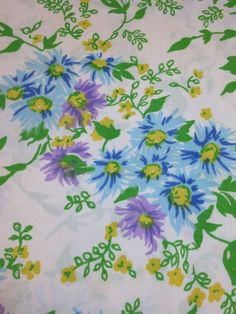 Lady Pepperell Twin Flat Sheet No Iron Percale Blue Lavender Floral Cottage Chic | eBay