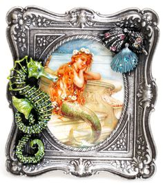 KIRKS FOLLY RIP TIDE'S RIDE SEAHORSE PICTURE FRAME antique silvertone #KirksFolly