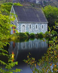visitheworld:    Small church at Gougane Barra in Cork County, Ireland (by mail2jmcl).