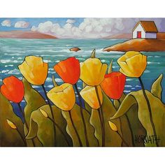 PAINTING ORIGINAL Folk Art Ocean Yellow & Red Tulip Blooms Modern Abstract Landscape Colorful Seascape Fine Artwork C Horvath Buchanan 11x14. $159.00, via Etsy.