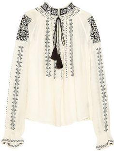 ShopStyle: Antik Batik Embroidered voile smock top