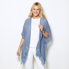 Trend alert: Fringe is the season's must-have look! This is a signature weekend kimono that is casual, comfortable, and carefree. You'll want to wear it 24/7 because every day should feel like a weekend. Regularly $19.99, shop Avon Fashion online at http://eseagren.avonrepresentative.com