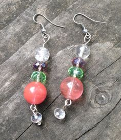 Cherry Crackle Faceted and Drop Crystal Quartz by TripIntoLight, $11.50