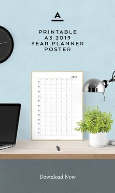 Year Planner, Desk Calendars, Design Shop, Wall Art Decor, Stationary, Track, Greeting Cards, Typography, Printables