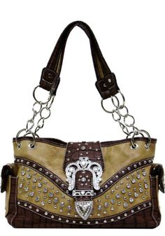 "Western Purse Shoulder Bag with Crown Buckle and Bling 13"" x 8"" x 5"""