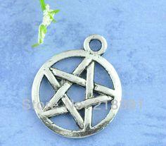 100pcs Wholesale Antique Silver  Tone Pentagram Supernatural Charms Pendants 20x17mm Diy jewelry Finding  $9.79