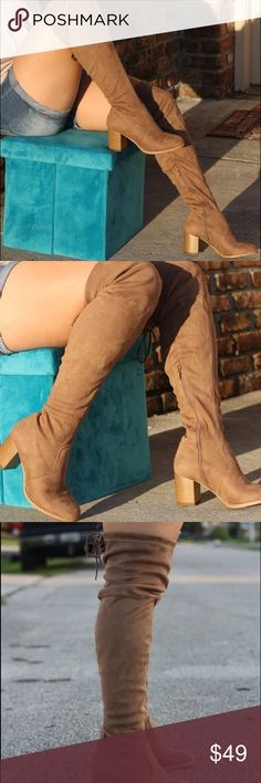 """Taupe thigh boots New .. faux suede.. 3"""" heel.. fits true to size .. tie in the back to adjust to thigh.. no trades... no holds... firm on price Shoes Over the Knee Boots"""