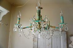 Rusty robins egg blue chandelier lighting by AnitaSperoDesign