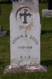 Headstone: Godin | St Joachim Cemetery | Bertrand (Gloucester) New Brunswick Genealogy