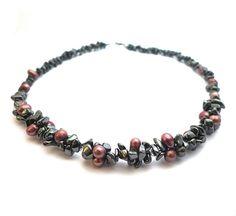 Hematite freshwater pearls necklace dark grey hematite door deBATjes