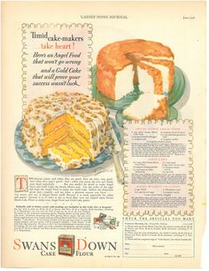 """Swan's Down Angel Food Cake and Gold Cake with Maple-Walnut Frosting Recipes from """"Ladies' Home Journal"""" 