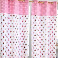 Gardinen mit Ösen Cup Cakes rosa blau im 2er Set 100% Baumwolle