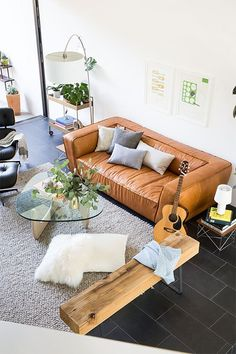 Camel leather sofa - more inspiration pics and links to sofas I'm loving in the post!