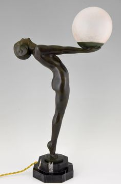 French Art Deco Lamp, Nude with Ball by Max Le Verrier, 1930 Human Sculpture, Sculpture Art, Art Deco Design, E Design, Statues, Art Deco Table Lamps, Art Deco Lighting, Lighting Ideas, Crackle Glass