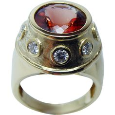 Vintage 7.5ct Natural Orange Zircon Diamond Ring 18K Gold Heavy 17.3gr from luvmydiamonds on Ruby Lane