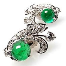 Vintage Natural Emerald, Diamond And Platinum Earrings