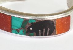 SOLD!! Sterling Silver Bracelet ZUNI Cuff w Fetish Bear Malachite Heavy & Thick Gauge