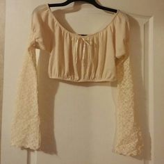 Midriff top & skirt Top is a midriff with long lace  sleeves size medium pop style brand, skirt has two tiers of lace at bottom back zipper & a liner size medium wet seal brand Wet Seal Tops Crop Tops