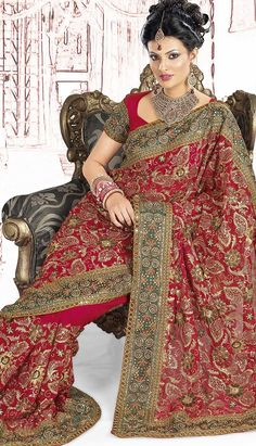 Buy Beautiful Latest Indian Pink Faux #Georgette #DesignerSaree Product code: KDS-39290 Price: INR 5775 (Unstitch Blouse), Color: Red Shop Online now:  http://www.efello.com.my/Saree_Beautiful-Latest-Indian-Pink-Faux-Georgette-Designer-Saree,-Sari_37705