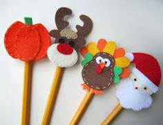 Holiday Pencil Topper Set Christmas by BabyWhatKnots on Etsy