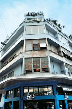 the blue apartment block in Exarcheia Colour Architecture, City State, Athens Greece, Condominium, Greek, Earth, Modernism, History, House Styles