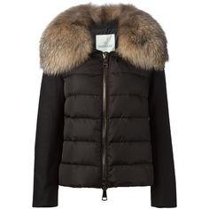 Moncler 'Sedan' padded jacket ($3,040) ❤ liked on Polyvore featuring outerwear, jackets, black, long sleeve jacket, feather jacket, black feather jacket, black quilted jacket and black straight jacket