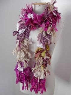 Wild Raggy Distressed Recycled Sari Silk Scarf pink beige cream and vintage lace