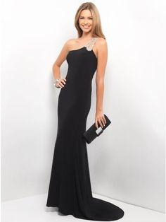 Modest A-line One-Shoulder Beading Floor-length Elastic Woven Satin Prom Dress