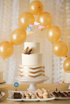 love a sparkly wedding cake {and the fun flags}