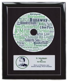 Ed Sheeran Multiply Word Art Album Tracks Framed or Mounted Print Picture Poster