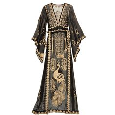 CALYPSO St. Barth Charisma Embellished Silk Caftan ($519) ❤ liked on Polyvore featuring dresses, gowns, long dresses, peacock dress, brown dress, silk caftan, feather dress and long sleeve dresses