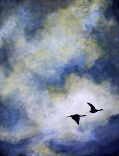 Pair of Geese Nature Romantic Couple by ContemporaryEarthArt, $20.00