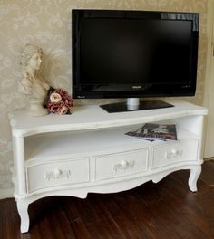 Ivory White French Vintage TV Cabinet Unit Sideboard