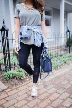 Athleisure Outfit Inspiration ft. Alo Moto Leggings, Denim Jacket, Nike Sneakers, Henri Bendel