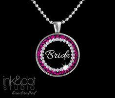 Bride Necklace  Hot Pink Black Damask and Diamonds by inkdotstudio, $9.95