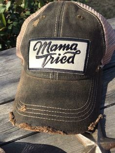 "Snap back vintage distressed ball cap with ""Mama Tried"" patch. Expected to receive in house around April 26th!"