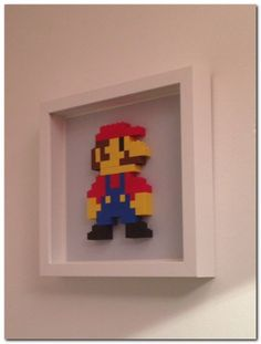 Super Mario Lego Wall Art - super cute for a nursery / kids room Lego Wall Art, Diy Wall Art, Diy Wand, Deco Lego, Super Mario Room, Boy Room, Kids Room, Nintendo Room, Deco Gamer
