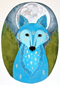 Moon Wolf Painting Watercolor Illustration Art by RiverLuna