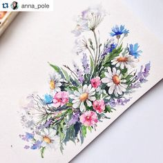 Flowers by @anna_pole feature tag #inspiringpieces  #art #drawing #watercolor #colorful #flowers #pink #beautiful #love #spring #inspiring #inspiration