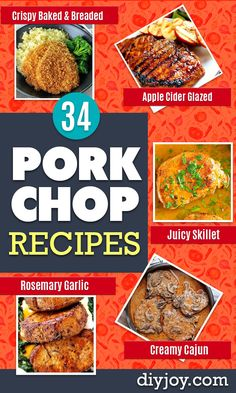 Pork Chop Recipes - Best Recipe Ideas for Pork Chops - Healthy Baked Grilled and Crockpot Dishes - Easy Boneless Skillet Chops Best Pork Recipe, Pork Rib Recipes, Grilling Recipes, Meat Recipes, Cooking Recipes, Healthy Recipes, Cooking Ideas, Lunch Recipes, Delicious Recipes