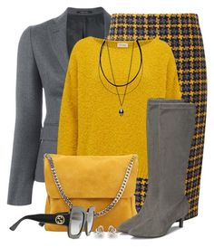 """""""Check Pencil Skirt & Suede Boots"""" by brendariley-1 ❤ liked on Polyvore featuring Tagliatore, Pure Collection, American Vintage, CÉLINE, Aerosoles, Gucci and Georgini"""