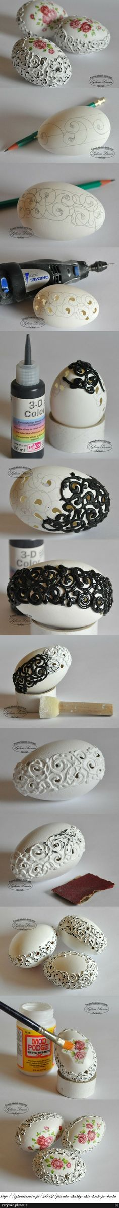 tutorial for making a decorative egg - egg shell, dimensional paint, roses on top, distressed finish @ diy - cottage, chippy, shabby chic, vintage