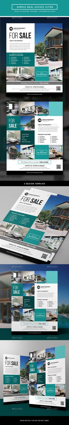 Simple Real Estate Flyer Template PSD. Download here: http://graphicriver.net/item/simple-real-estate-flyer/15944648?ref=ksioks