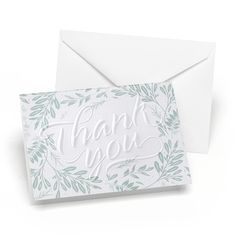 This card takes the rich design of embossing and the greenery trend and turns it into a work of art. This is the perfect way to send messages of appreciation. Thank You Notes, Thank You Cards, Appreciation Message, Home Wedding, Custom Invitations, White Envelopes, Etiquette, Emboss, Send Message