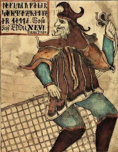 "loke with a fishing net. a norse mythology image from the 18th century icelandic manuscript ""NKS 1867 4to"""