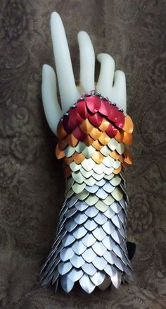 Dragon Skin Gloves, Scale Half Gauntlets Phoenix fire Red, Orange, Gold and Silver With Leather Buckle