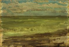 """The Sea, Pourville, No. James Abbott McNeill Whistler, oil on panel, 7 x 10 The Hyde Collection. James Abbott Mcneill Whistler, Glens Falls, Gypsy Living, Sky Sea, Realistic Paintings, Singer Sargent, Swim Swim, Impressionist, Travel Style"