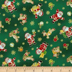 Seasons Greetings Santa & Reindeer Green from @fabricdotcom  From Fabri-Quilt, this cotton print is perfect for quilting, apparel and home decor accents.  Colors include shades of red, green, white, tan and metallic gold.